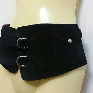 Rafe NY Black Suede Corset Waist Belt With Pockets